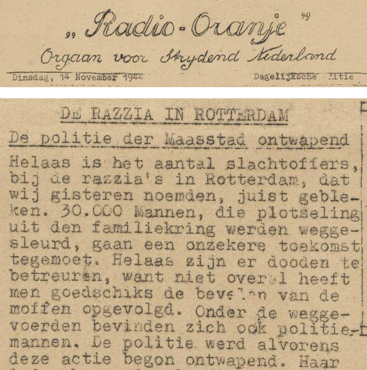 Knipsel uit verzetskrant Radio-Oranje