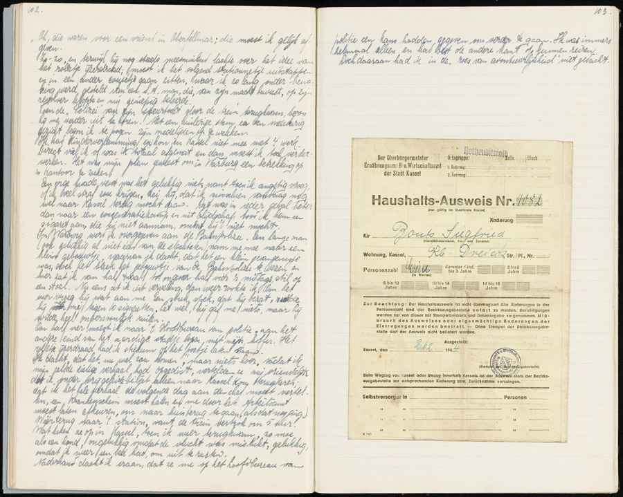 Twee bladzijden uit het dagboek van Siegfried Bouts (Stadsarchief Rotterdam).