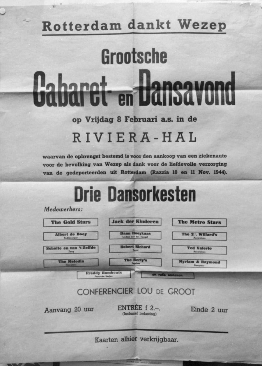 Een affiche over het feest in de Rivièrahal gehouden op 8-2-1946.